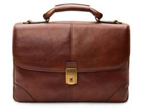 Dolce Old Leather Flapover Brief - Dark Brown