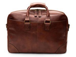 Dolce Old Leather Ziptop Brief - Dark Brown