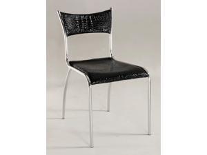 Chrome/Black Slim Upholstered Back Side Chair (Set of 4)