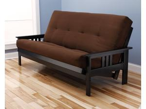 Woodbury Full Size Futon Sofa With Suede Innerspring Mattress, Black Painted Hardwood Frame, Chocolate