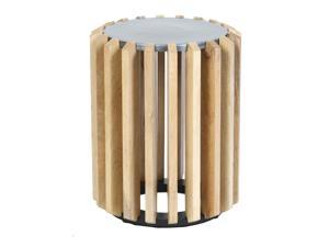Wooden Plank Drum Table with Metal Top