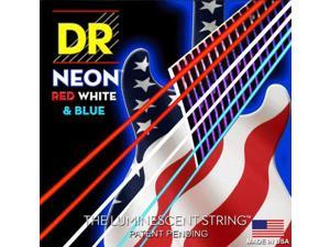 DR Strings K3 Neon Hi-Def Red White & Blue Electric Guitar Strings 11-50