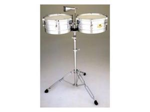 """Latin Percussion 14""""/15"""" Caliente Steel Timbales w/Tilt Stand & Cowbell"""