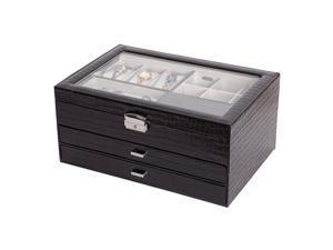 Mele & Co. Mele & Co. Alana Glass Top Locking Jewelry Box in Black Croco Faux Leather 0063462M