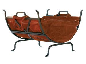 Uniflame Olde World Iron Log Holder With Suede Leather Carrier W-1189