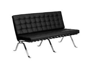 Flash Furniture HERCULES Flash Series Black Leather Love Seat with Curved Legs ZB-FLASH-801-LS-BK-GG ZB-FLASH-801-LS-BK-GG