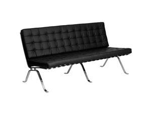 Flash Furniture HERCULES Flash Series Black Leather Sofa with Curved Legs ZB-FLASH-801-SOFA-BK-GG ZB-FLASH-801-SOFA-BK-GG