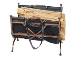 Uniflame W-1315 ANTIQUE COPPER WROUGHT IRON LOG HOLDER WITH BLK LEATHER CARRIER