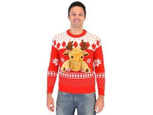 Red 3D Ugly Christmas Sweater with Stuffed Moose