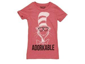 Dr. Seuss Adorkable Cat in the Hat Heathered Red Juniors T-shirt Tee