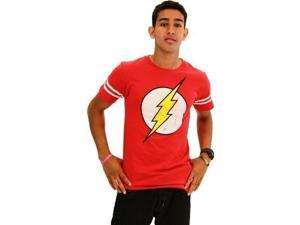 The Flash Distressed Logo With Striped Sleeves Red Adult T-Shirt