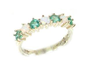 Solid 14K White Gold Womens Opal & Emerald Anniversary Eternity Ring - Size 5.25 - Finger Sizes 5 to 12 Available