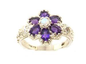 Solid English White 9K Gold Womens Fiery Opal & Amethyst Art Nouveau Flower Ring - Size 10.25 - Finger Sizes 5 to 12 Available