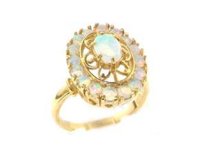 Luxury 9K Yellow Gold Womens English Made Large Colorful Fiery Opal Cluster Ring - Size 9.75 - Finger Sizes 5 to 12 Available
