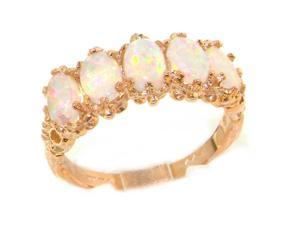 Luxury 14K Rose Gold Womens Colorful Fiery Opal Vintage Style Eternity Band Ring - Size 10.5 - Finger Sizes 5 to 12 Available