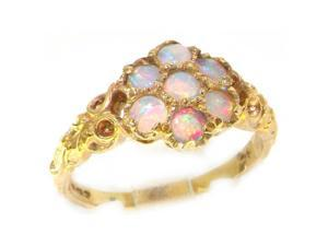 14K Yellow Gold Womens Opal Daisy Flower Ring - Size 10 - Finger Sizes 5 to 12 Available