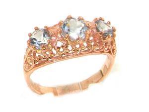 Luxury 9K Rose Gold Womens Ice Blue Aquamarine Vintage Style Filigree Eternity Band Ring - Size 7.25 - Finger Sizes 5 to 12 Available