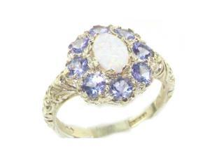 Solid English Sterling Silver Womens Large Opal & Tanzanite Art Nouveau  Ring - Size 11 - Finger Sizes 5 to 12 Available