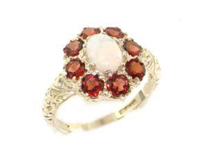 Solid English 9K White Gold Ladies Large Opal & Garnet Art Nouveau  Ring - Size 7.75 - Finger Sizes 5 to 12 Available