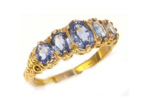 14K Yellow Gold Womens Vibrant Ceylon Sapphire Eternity Band Ring - Size 11.25 - Finger Sizes 5 to 12 Available