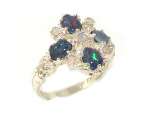 Luxury 9K White Gold Womens Opal 9 Stone Ring - Size 10.5 - Finger Sizes 5 to 12 Available
