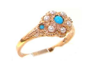 Luxury 9K Rose Gold Womens Turquoise & Pearl Vintage Style Cluster Ring - Size 5.75 - Finger Sizes 5 to 12 Available