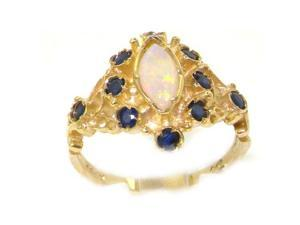 Luxury 9K Yellow Gold Womens Fiery Marquise Opal & Sapphire English Victorian Style Ring - Size 7.5 - Finger Sizes 5 to 12 Available