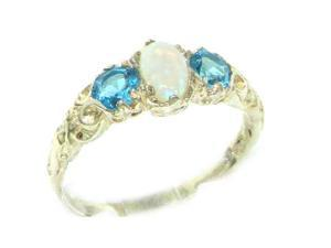 Ladies Solid White 9K Gold Natural Opal  #38; Blue Topaz English Victorian Trilogy Ring - Size 5.5 -