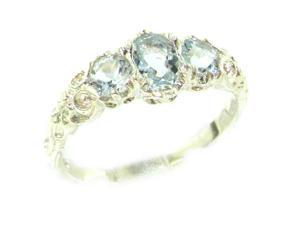 Ladies Solid White 9K Gold Natural Aquamarine English Victorian Trilogy Ring - Size 7.25 - Finger Si