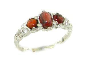 Ladies Solid White 9K Gold Natural Cabochon Garnet English Victorian Trilogy Ring - Size 7 - Finger
