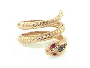 Fabulous Solid Rose 9K Gold Natural Sapphire & Ruby Detailed Snake Ring - Size 6.5 - Finger Sizes 5 to 12 Available