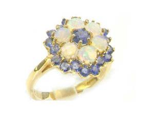 Solid English Yellow 9K Gold Ladies Stunning Luxury Marquise Tanzanite & Fiery Opal Cluster Ring - Size 11 - Finger Sizes 5 to 12 Available
