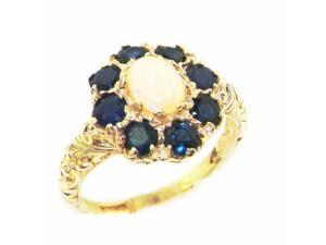 Solid English Yellow 9K Gold Womens Large Opal & Sapphire Art Nouveau  Ring - Size 8 - Finger Sizes 5 to 12 Available