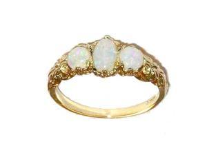 Ladies Solid 14K Yellow Gold Natural Fiery Opal English Victorian Trilogy Ring - Size 8 - Finger Sizes 5 to 12 Available
