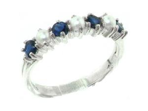 Exquisite Solid Sterling Silver Natural Sapphire & Pearl Ladies Eternity Ring - Size 9.5 - Finger Sizes 4 to 12 Available