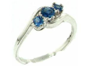 Luxury Solid English Sterling Silver Natural Blue Sapphire Trilogy Ring - Size 4.75 - Finger Sizes 4 to 12 Available