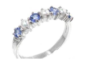 Elegant Solid Sterling Silver Natural Tanzanite & Pearl Ladies Eternity Ring - Size 9.5 - Finger Sizes 4 to 12 Available