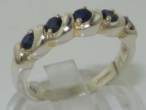 Luxury Solid Sterling Silver Deep Blue Natural Sapphire Eternity Ring - Size 4.25 - Finger Sizes 4 to 12 Available