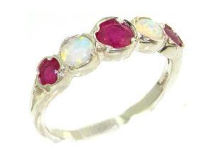 Genuine Solid Sterling Silver Natural Ruby & Fiery Opal Womens Eternity Ring - Size 5 - Finger Sizes 4 to 12 Available