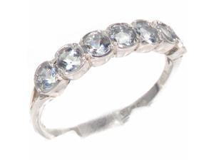 Luxury Solid Sterling Silver Vibrant Natural Aquamarine Eternity Ring - Size 8 - Finger Sizes 4 to 12 Available