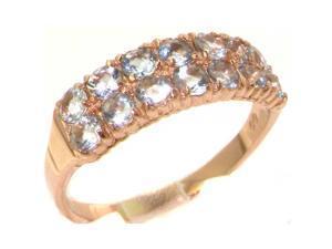Luxury 9K Rose Gold Womens Aquamarine Eternity Ring - Size 11.75 - Finger Sizes 4 to 12 Available