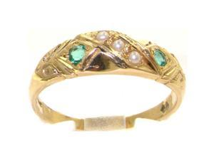 Luxury 9K Yellow Gold Womens Pearl & Emerald Vintage Style Eternity Band Ring - Size 9.5 - Finger Sizes 4 to 12 Available