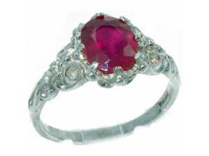 Luxurious Solid Sterling Silver Natural Ruby Womens Solitaire Engagment Ring - Size 12 - Finger Sizes 4 to 12 Available