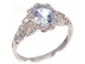 Luxurious Solid Sterling Silver Natural Aquamarine Womens Solitaire Engagment Ring - Size 8.5 - Finger Sizes 4 to 12 Available