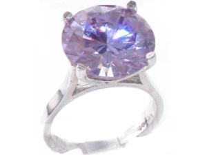 High Quality 925 Solid Sterling Silver Large 14mm 16.5ct Synthetic Tanzanite Solitaire Ring - Size 4