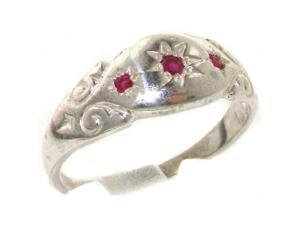 925 Solid Sterling Silver Natural Ruby Antique style Gypsy band Ring - Size 8 - Finger Sizes 4 to 12 Available