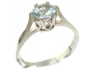 High Quality 925 Solid Sterling Silver Genuine Natural Aquamarine Solitaire Ring - Size 8.5 - Finger Sizes 4 to 12 Available