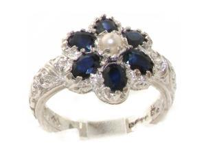 Solid 9K White Gold Natural Sapphire & Pearl Victorian Cluster Flower Ring - Size 4.25 - Finger Sizes 4 to 12 Available