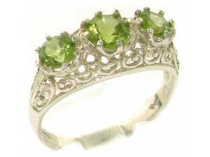 Solid 9K White Gold Genuine Natural Peridot English Filigree Trilogy Band Ring - Size 4.25 - Finger Sizes 4 to 12 Available