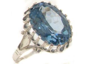 High Quality 925 Solid Sterling Silver Large 16x12mm 9.6ct Synthetic Aquamarine Solitaire Ring - Siz